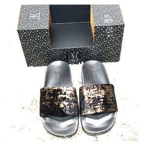 INC black  slip on slippers size  Medium 7/8
